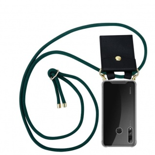 Cadorabo Handy Kette für Huawei P SMART PLUS 2019 in ARMEE GRÜN Silikon Necklace Umhänge Hülle mit Gold Ringen, Kordel Band Schnur und abnehmbarem Etui Schutzhülle