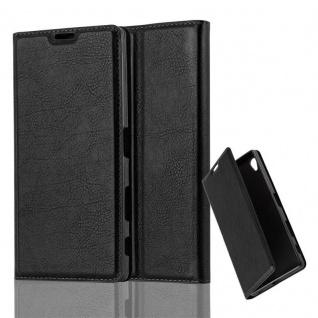 Cadorabo Hülle für Sony Xperia Z5 PREMIUM in NACHT SCHWARZ - Handyhülle mit Magnetverschluss, Standfunktion und Kartenfach - Case Cover Schutzhülle Etui Tasche Book Klapp Style