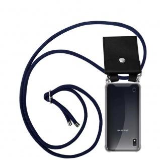 Cadorabo Handy Kette für Samsung Galaxy A10 in TIEF BLAU Silikon Necklace Umhänge Hülle mit Silber Ringen, Kordel Band Schnur und abnehmbarem Etui Schutzhülle