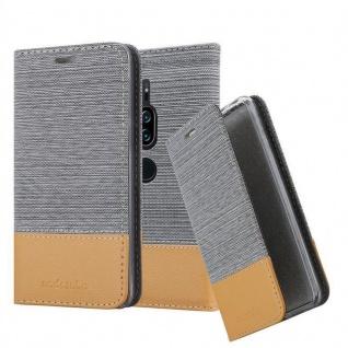 Cadorabo Hülle für Sony Xperia XZ2 PREMIUM in HELL GRAU BRAUN - Handyhülle mit Magnetverschluss, Standfunktion und Kartenfach - Case Cover Schutzhülle Etui Tasche Book Klapp Style