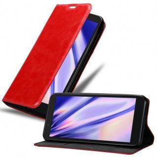 Cadorabo Hülle für Alcatel 1C 2019 in APFEL ROT - Handyhülle mit Magnetverschluss, Standfunktion und Kartenfach - Case Cover Schutzhülle Etui Tasche Book Klapp Style