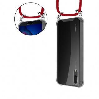 Cadorabo Handy Kette für Huawei P20 in RUBIN ROT - Silikon Necklace Umhänge Hülle mit Silber Ringen, Kordel Band Schnur und abnehmbarem Etui - Schutzhülle - Vorschau 5