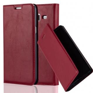 Cadorabo Hülle für Samsung Galaxy J7 2015 in APFEL ROT - Handyhülle mit Magnetverschluss, Standfunktion und Kartenfach - Case Cover Schutzhülle Etui Tasche Book Klapp Style