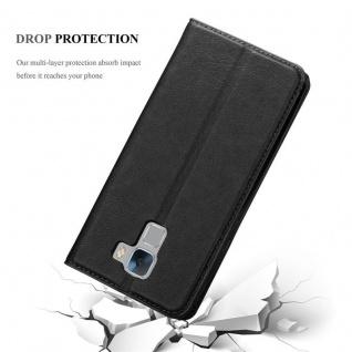 Cadorabo Hülle für Honor 7 in NACHT SCHWARZ - Handyhülle mit Magnetverschluss, Standfunktion und Kartenfach - Case Cover Schutzhülle Etui Tasche Book Klapp Style - Vorschau 5