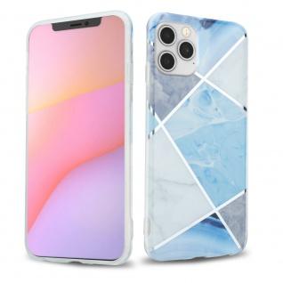 "Cadorabo Hülle für Apple iPhone 12 / iPhone 12 Pro (6, 1"" Zoll) Hülle in Blau weiß grau Marmor No.2 Handyhülle aus TPU Silikon mit Muster Mosaik Silikonhülle Schutzhülle Ultra Slim Back Cover"