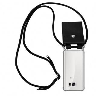 Cadorabo Handy Kette für Samsung Galaxy NOTE 5 in SCHWARZ - Silikon Necklace Umhänge Hülle mit Silber Ringen, Kordel Band Schnur und abnehmbarem Etui - Schutzhülle