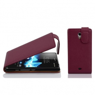 Cadorabo Hülle für Sony Xperia T in BORDEAUX LILA - Handyhülle im Flip Design aus strukturiertem Kunstleder - Case Cover Schutzhülle Etui Tasche Book Klapp Style