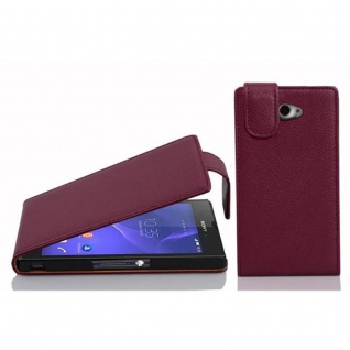 Cadorabo Hülle für Sony Xperia M2 / M2 Aqua in BORDEAUX LILA - Handyhülle im Flip Design aus strukturiertem Kunstleder - Case Cover Schutzhülle Etui Tasche Book Klapp Style