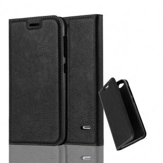 Cadorabo Hülle für ZTE BLADE S6 in NACHT SCHWARZ Handyhülle mit Magnetverschluss, Standfunktion und Kartenfach Case Cover Schutzhülle Etui Tasche Book Klapp Style