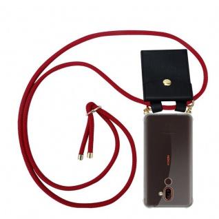 Cadorabo Handy Kette für Nokia 7 PLUS in RUBIN ROT Silikon Necklace Umhänge Hülle mit Gold Ringen, Kordel Band Schnur und abnehmbarem Etui Schutzhülle