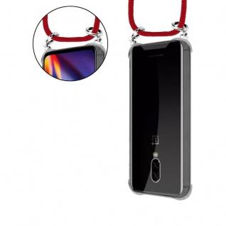 Cadorabo Handy Kette für OnePlus 6T in RUBIN ROT - Silikon Necklace Umhänge Hülle mit Silber Ringen, Kordel Band Schnur und abnehmbarem Etui - Schutzhülle - Vorschau 5