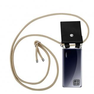 Cadorabo Handy Kette für Oppo A92s in GLÄNZEND BRAUN Silikon Necklace Umhänge Hülle mit Silber Ringen, Kordel Band Schnur und abnehmbarem Etui Schutzhülle