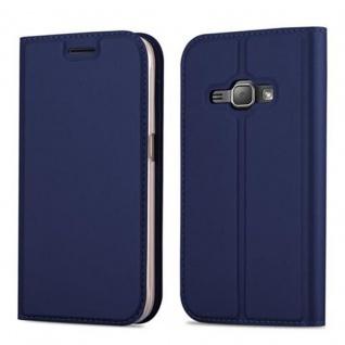 Cadorabo Hülle für Samsung Galaxy J1 2016 in CLASSY DUNKEL BLAU - Handyhülle mit Magnetverschluss, Standfunktion und Kartenfach - Case Cover Schutzhülle Etui Tasche Book Klapp Style