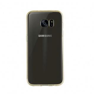 Cadorabo Hülle für Samsung Galaxy S7 EDGE - Hülle in TRANSPARENT GOLD ? Handyhülle aus TPU Silikon im Strass Design - Silikonhülle Schutzhülle Ultra Slim Soft Back Cover Case Bumper - Vorschau 2