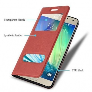 Cadorabo Hülle für Samsung Galaxy A3 2015 in SAFRAN ROT ? Handyhülle mit Magnetverschluss, Standfunktion und 2 Sichtfenstern ? Case Cover Schutzhülle Etui Tasche Book Klapp Style - Vorschau 3