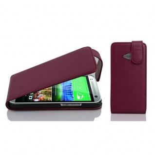 Cadorabo Hülle für HTC ONE M8 MINI (2.Gen.) - Hülle in BORDEAUX LILA ? Handyhülle aus strukturiertem Kunstleder im Flip Design - Case Cover Schutzhülle Etui Tasche