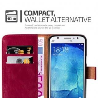Cadorabo Hülle für Samsung Galaxy J5 2015 in WEIN ROT - Handyhülle mit Magnetverschluss, Standfunktion und Kartenfach - Case Cover Schutzhülle Etui Tasche Book Klapp Style - Vorschau 3