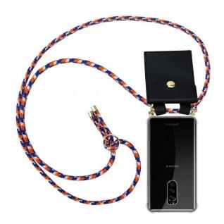 Cadorabo Handy Kette für Sony Xperia 1 in ORANGE BLAU WEISS - Silikon Necklace Umhänge Hülle mit Gold Ringen, Kordel Band Schnur und abnehmbarem Etui ? Schutzhülle