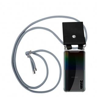Cadorabo Handy Kette für Samsung Galaxy A90 5G in SILBER GRAU Silikon Necklace Umhänge Hülle mit Silber Ringen, Kordel Band Schnur und abnehmbarem Etui Schutzhülle