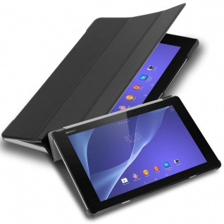 """"""" Cadorabo Tablet Hülle für Sony Xperia Tablet Z2 (10, 1"""" Zoll) SGP521 in SATIN SCHWARZ ? Ultra Dünne Book Style Schutzhülle mit Auto Wake Up und Standfunktion aus Kunstleder"""""""