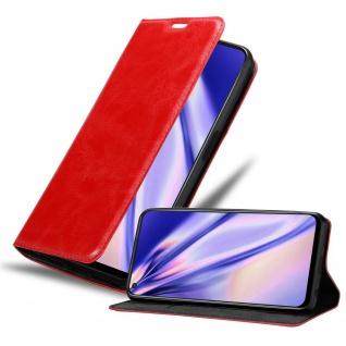 Cadorabo Hülle für Oppo A92 in APFEL ROT Handyhülle mit Magnetverschluss, Standfunktion und Kartenfach Case Cover Schutzhülle Etui Tasche Book Klapp Style