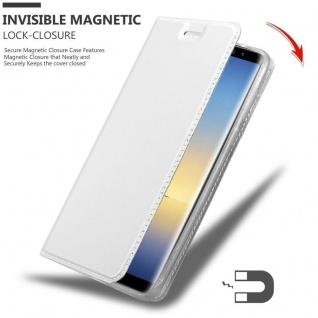 Cadorabo Hülle für Samsung Galaxy NOTE 8 in CLASSY SILBER - Handyhülle mit Magnetverschluss, Standfunktion und Kartenfach - Case Cover Schutzhülle Etui Tasche Book Klapp Style - Vorschau 3