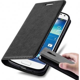 Cadorabo Hülle für Samsung Galaxy S4 MINI in NACHT SCHWARZ - Handyhülle mit Magnetverschluss, Standfunktion und Kartenfach - Case Cover Schutzhülle Etui Tasche Book Klapp Style - Vorschau 1