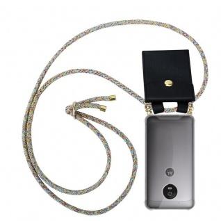 Cadorabo Handy Kette für Motorola MOTO G5 in RAINBOW - Silikon Necklace Umhänge Hülle mit Gold Ringen, Kordel Band Schnur und abnehmbarem Etui ? Schutzhülle