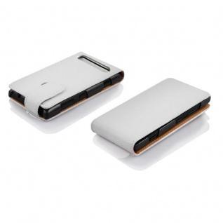 Cadorabo Hülle für Sony Xperia E1 in MAGNESIUM WEIß - Handyhülle im Flip Design aus strukturiertem Kunstleder - Case Cover Schutzhülle Etui Tasche Book Klapp Style - Vorschau 3