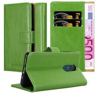 Cadorabo Hülle für WIKO VIEW XL in GRAS GRÜN ? Handyhülle mit Magnetverschluss, Standfunktion und Kartenfach ? Case Cover Schutzhülle Etui Tasche Book Klapp Style