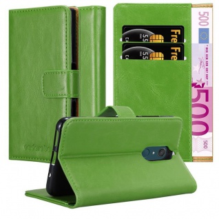 Cadorabo Hülle für WIKO VIEW XL in GRAS GRÜN Handyhülle mit Magnetverschluss, Standfunktion und Kartenfach Case Cover Schutzhülle Etui Tasche Book Klapp Style