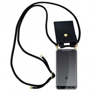 Cadorabo Handy Kette für Huawei P10 in SCHWARZ ? Silikon Necklace Umhänge Hülle mit Gold Ringen, Kordel Band Schnur und abnehmbarem Etui ? Schutzhülle