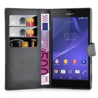Cadorabo Hülle für Sony Xperia T3 in PHANTOM SCHWARZ ? Handyhülle mit Magnetverschluss und 3 Kartenfächern ? Case Cover Schutzhülle Etui Tasche Book Klapp Style