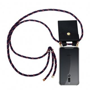 Cadorabo Handy Kette für Huawei MATE 10 / NOVA 2i in BLAU ROT WEISS GEPUNKTET - Silikon Necklace Umhänge Hülle mit Gold Ringen, Kordel Band Schnur und abnehmbarem Etui ? Schutzhülle