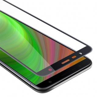 Cadorabo Vollbild Panzer Folie für Samsung Galaxy J4 PLUS - Schutzfolie in TRANSPARENT mit SCHWARZ - Gehärtetes (Tempered) Display-Schutzglas in 9H Härte mit 3D Touch Kompatibilität