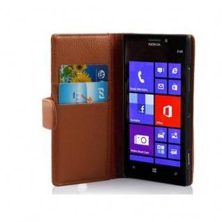 Cadorabo Hülle für Nokia Lumia 925 in COGNAC BRAUN Handyhülle aus strukturiertem Kunstleder mit Standfunktion und Kartenfach Case Cover Schutzhülle Etui Tasche Book Klapp Style