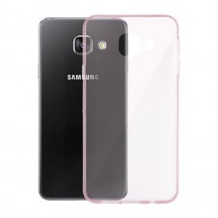 Cadorabo Hülle für Samsung Galaxy A3 2016 (6) - Hülle in TRANSPARENT ROSA - Handyhülle aus TPU Silikon im Strass Design - Silikonhülle Schutzhülle Ultra Slim Soft Back Cover Case Bumper - Vorschau 3