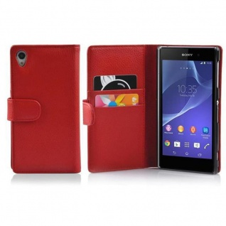 Cadorabo Hülle für Sony Xperia Z2 in INFERNO ROT - Handyhülle aus strukturiertem Kunstleder mit Standfunktion und Kartenfach - Case Cover Schutzhülle Etui Tasche Book Klapp Style