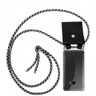 Cadorabo Handy Kette für Samsung Galaxy XCover 4 in DUNKELBLAU GELB - Silikon Necklace Umhänge Hülle mit Silber Ringen, Kordel Band Schnur und abnehmbarem Etui - Schutzhülle