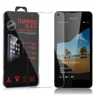 Cadorabo Panzerglas für Nokia Lumia 550 - Schutzfolie in KRISTALL KLAR ? Gehärtetes (Tempered) Display-Schutzglas in 9H Härte mit 3D Touch Kompatibilität