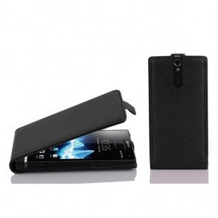 Cadorabo Hülle für Sony Xperia S in OXID SCHWARZ - Handyhülle im Flip Design aus strukturiertem Kunstleder - Case Cover Schutzhülle Etui Tasche Book Klapp Style
