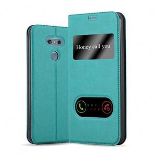 Cadorabo Hülle für LG G6 in MINT TÜRKIS Handyhülle mit Magnetverschluss, Standfunktion und 2 Sichtfenstern Case Cover Schutzhülle Etui Tasche Book Klapp Style