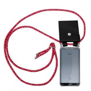 Cadorabo Handy Kette für Huawei P9 in PINK SCHWARZ WEISS GEPUNKTET - Silikon Necklace Umhänge Hülle mit Silber Ringen, Kordel Band Schnur und abnehmbarem Etui - Schutzhülle