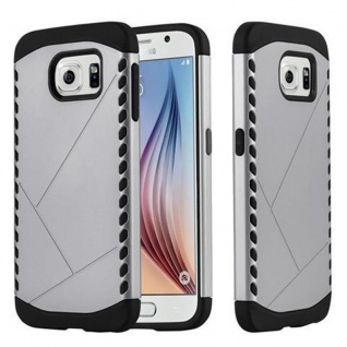 Cadorabo Hülle für Samsung Galaxy S6 - Hülle in GUARDIAN SILBER ? Hard Case TPU Silikon Schutzhülle für Hybrid Cover im Outdoor Heavy Duty Design