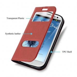 Cadorabo Hülle für Samsung Galaxy S3 / S3 NEO in SAFRAN ROT ? Handyhülle mit Magnetverschluss, Standfunktion und 2 Sichtfenstern ? Case Cover Schutzhülle Etui Tasche Book Klapp Style - Vorschau 3