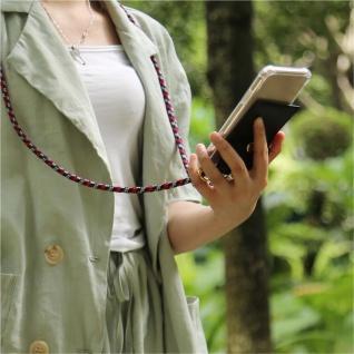 Cadorabo Handy Kette für Apple iPhone 8 PLUS / 7 PLUS / 7S PLUS in ROT BLAU WEISS - Silikon Necklace Umhänge Hülle mit Gold Ringen, Kordel Band Schnur und abnehmbarem Etui ? Schutzhülle - Vorschau 3
