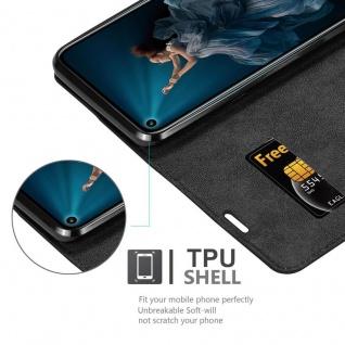 Cadorabo Hülle für Honor 20 PRO in NACHT SCHWARZ - Handyhülle mit Magnetverschluss, Standfunktion und Kartenfach - Case Cover Schutzhülle Etui Tasche Book Klapp Style - Vorschau 4