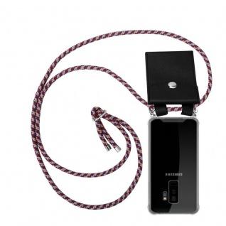 Cadorabo Handy Kette für Samsung Galaxy S9 PLUS in ROT GELB WEISS - Silikon Necklace Umhänge Hülle mit Silber Ringen, Kordel Band Schnur und abnehmbarem Etui - Schutzhülle