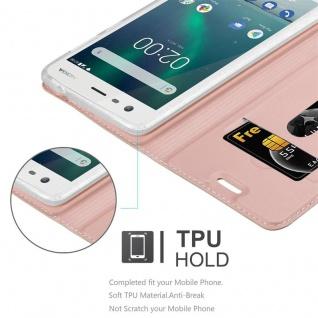Cadorabo Hülle für Nokia 2 2017 in CLASSY ROSÉ GOLD - Handyhülle mit Magnetverschluss, Standfunktion und Kartenfach - Case Cover Schutzhülle Etui Tasche Book Klapp Style - Vorschau 2