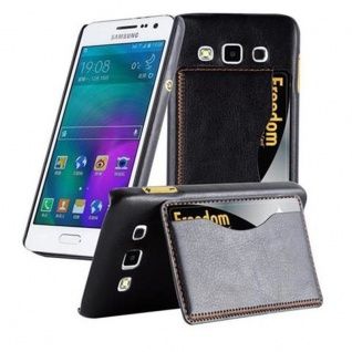 Cadorabo Hülle für Samsung Galaxy A3 2015 - Hülle in SCHWARZ ? Handyhülle mit Kartenfach und Standfunktion - Hardcase Bumper Back Case Cover